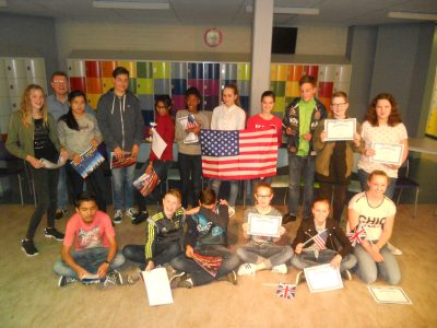The Emmacollege in Heerlen: proud students and their teacher