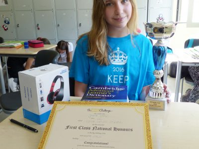 Jonna, 2nd National winner (level 2) and her prizes! Tyska Skolan, Stockholm 2016