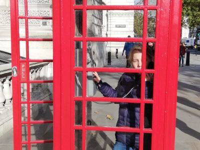 In a telephone booth in London 