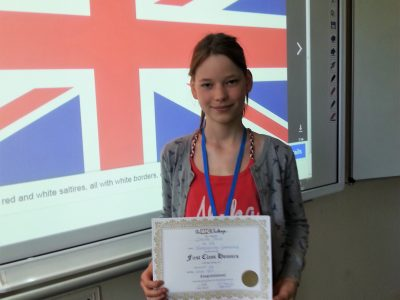 Niedersorbisches Gymnasium Cottbus Carlotta D. is happy about the School Award in level 1.