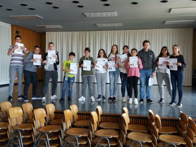 Aachen, Germany, Hugo-Junkers-Realschule:  71 students took part in the test this year. We are looking forward to getting the test results.