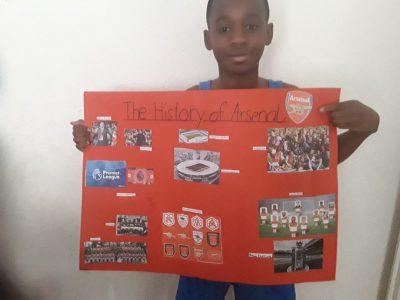 """Berlin  Grundschule am Dielingsgrund   """"Wir hatten im Englisch unterricht die Aufgabe Plakate zu gestalten die etwas mit Engand zu tun hatten.Ich habe mein  Lieblingsverein Arsenal ausgewählt"""""""