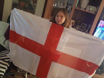 Langenfeld Bettine-von-Arnim Gesamtschule Mit der England Flagge