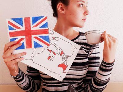 """Schwerin, Goethe-Gymnasium  HOMEMADE WITH LOVE !  Die englische Sprache ist weltweit bekannt, die sogenannte """"Weltsprache"""", deswegen habe ich eine übersichtliche Weltkarte mit den englischsprachigen Ländern/Orten angefertigt.  Aber auch die Sehenswürdigkeit """"Big Ben"""" darf natürlich nicht vergessen werden. Die Lieblingsbeschäftigung der Engländer ist Tee trinken, wer hätte es gedacht, deswegen auch diese wundervolle Pose ;)  Mit lieben Grüßen!"""