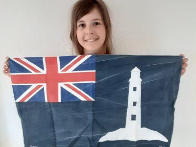 Marl, Gymnasium im Loekamp Urlaub in Cornwall ist toll! Die Fahne des Northern Lighthouseboard