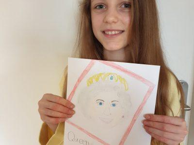 Düsseldorf Schule:ralschule benrath das ist Queen Elisabeth die ich gezeichnet habe