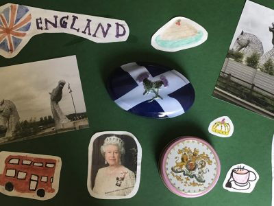 Waldheim, Oberschule Waldheim  Ich habe auf dem Plakat alle Dinge die ich mit Englisch verbinde gesammelt. Außerdem habe ich die Kelpies  und die Distel von Schottland aufgeklebt.