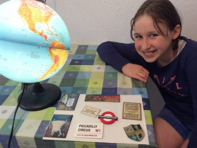 """Karlsruhe, Otto-Hahn Gymnasium We collected fridge magnets from some places in England, forinstance: the """"UNDERGROUND"""" magnet,(is my favourite)."""