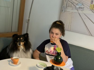 Berlin, Erich Kästner Grundschule. Tea time with my dog Pan (inspired by British tea time).