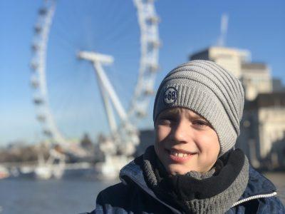 Bad Pyrmont, Humboldt Gymnasium, Klasse 5a.  Ich, im Februar 2019, auf der Brücke vor dem London Eye.  Max Geoffrey Drüge