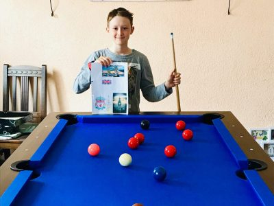 Luca Urlass vom Städtischen Gymnasium in 09648 Mittweida  I love  Snooker. I very often play it with my dad and my twins brother.