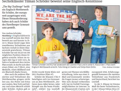 Artikel aus dem Elb-Havel-Echo, 16. Juni 2018 Diesterweg-Gymnasium, ASt Havelberg