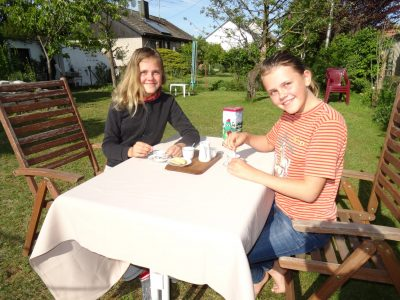 Herzogenaurach  - Gymnasium  5 o'clock teatime after the Big Challenge with my twin sister