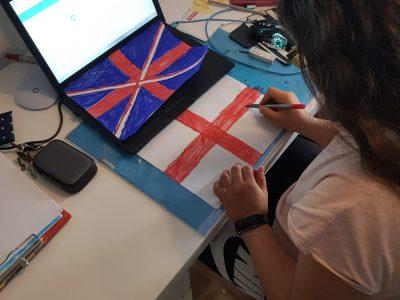 Stadt: Langenhagen   Schule: igs süd Langenhagen.    Ich habe die Englische Flagge gemalt.