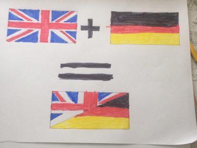 Stadt: Bad Nenndorf Schule: Gymnasium Bad Nenndorf Kommentar: Eine Flagge von Großbritannien mit einer deutschen Flagge Kombiniert.