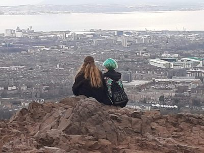 Groß Köris, Grund- und Oberschule Schenkenland  On this picture you can see me with my best friend on a abroad trip to Edinburgh/Scotland. The picture was taken on the mountain 'Arthur's seat' and in the background you can see a part of Edinburgh. P.S.: that was the best class trip i've ever had.