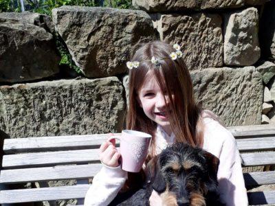"""Wolfenbüttel, THG, tea-time mit deutschem """"corgy"""""""