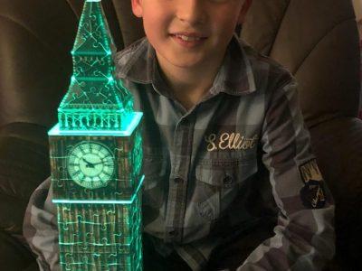 Jan-Joest-Gymnasium Kalkar  Big Ben by Night - eins der 3D-Puzzle-Werke von Noah :-)