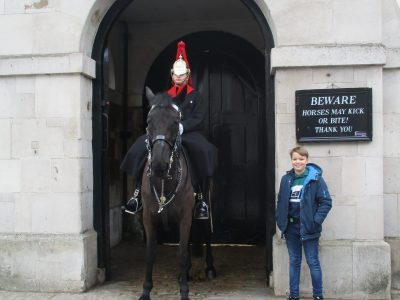 """Rhein-Sieg-Gymnasium, Sankt Augustin In the Picture you can see a horse guard and me at the """"horse guard parade"""