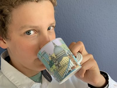 Karlsruhe Otto-Hahn-Gymnasium I`m drinking tea from my favourite London teacup!