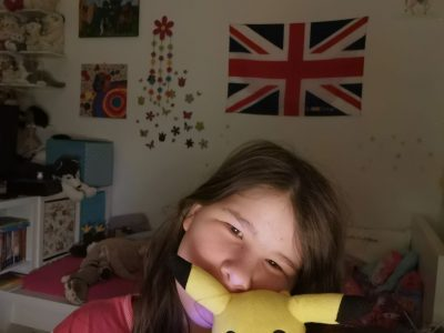 """This one evening than I made this Picture I like the Flag in the background and I am with a """"Pikachu"""" in the Vordergrund."""