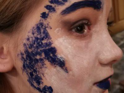 Die Landkarte (England) auf meinem Gesicht geschminkt.  Hennef, Gesamtschule Hennef-West