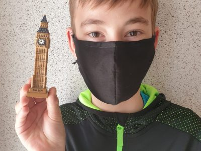 Gifhorn Humbolt Gymnasium Der Big Ben aus London und ich mit Maske in der Corona zeit.