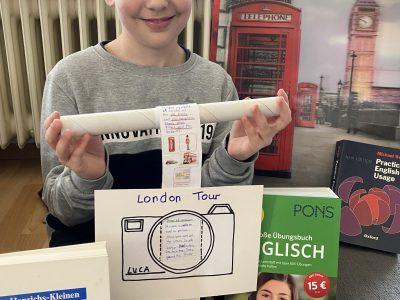 Alsbach Melibokusschule Arbeitsauftrag London Tour mit selbstgebauter Kamera zum Drehen