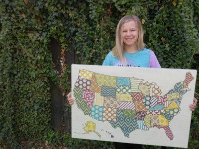 Luna Gerth, Diesterweg Gymnasium Tangermuende  Ich habe vier Jahre in den USA gelebt, deswegen ein Umriss der Vereinigten Staaten von America als Bild!
