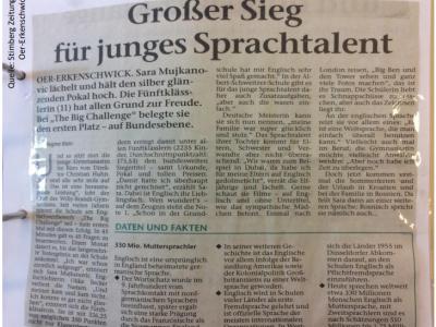 Artikel in der Stimberg Zeitung, Oer-Erkenschwick