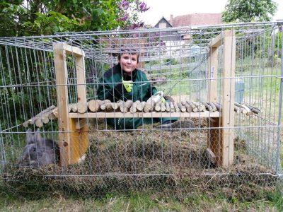 """Humboldt Gymnasium, Bad Pyrmont Jetzt während der Coronazeit kann man ja nicht reisen, und unsere Kaninchen können das ja auch so nicht. Also dachte ich mir ich bring den Kaninchen ein bisschen Urlaub direkt in ihren Käfig. Zusammen mit meiner Schwester habe ich also die """"Humber Bridge"""" in klein für sie nachgebaut. Da diese in echt im Vereinigten Königreich steht dachte ich mir, das sie perfekt zum Thema englisch passt."""