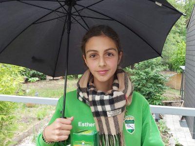 Wuppertal, Gesamtschule Barmen  Der Regenschirm steht für das oftmals regnerische Wetter in England. Der Tee ist ein traditionelles englisches Getränk. Der Schal ist von Burberry, das ist eine traditionelle englische Modemarke. Das Karomuster ist international bekannt.