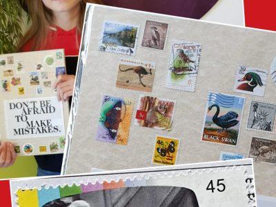 Langen, Gymnasium Langen Leitspruch im Zimmer, Briefmarken (englischsprachiger Länder/ Dinner for One auf deutscher Briefmarke)