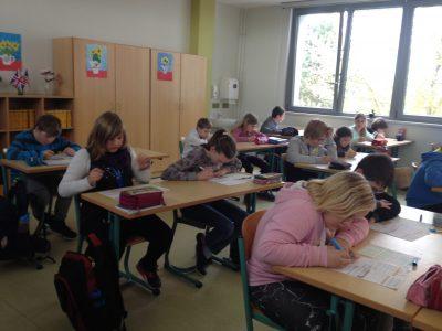 "Regionale Schule ""Am Grünen Berg"" Bergen Class 5 during the contest"