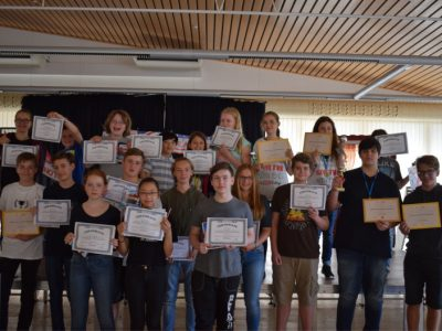 Siegerehrung am Heinitz- Gymnasium in Rüdersdorf, diesmal mit 6 Pokalgewinner!