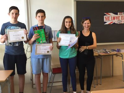 The top three with their teacher Silvia  IES Simarro Lacabra, Xàtiva (Valencia)