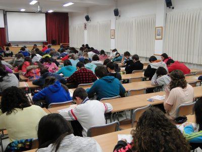 """IES""""PROFESSOR MANUEL BROSETA""""Banyeres de Mariola,España Esta foto se ha realizado esta mañana durante la prueba a las 10`30h. en la Sala de Conferencias de nuestro centro."""