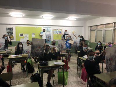 Alumnos de 1º ESO en la entrega de premios. CPR. Plurilingüe Santiago Apóstol-Ponteareas.