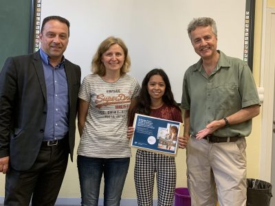 Lucie, vainqueur régionale et gagnante d'un séjour linguistique. Félicitations !