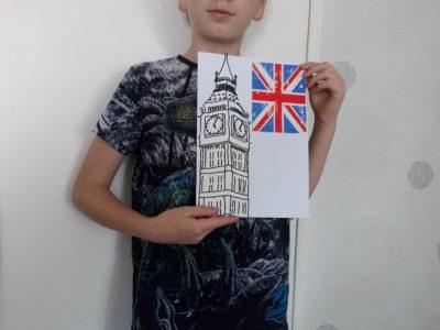 La Bassée collège Albert Schweitzer  Photo représentant le Big Ben ainsi que le drapeau Anglais