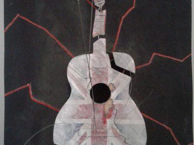 J'ai fais ce travail en art plastique car à l'époque il y avait eu un attentat, donc c'était pour montrer que l'angleterre était déchiré. C'est le collège Louis Querbes de Vourles, je suis en 3ème et je m'appelle Robin Richard