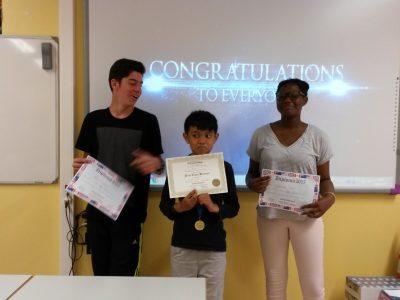 Collège Léonard de Vinci, Bouffémont (Val d'Oise) Our best 5e students ! Congratulations to the three of you, guys !
