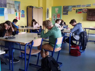 Hard thinking and brain buzzing from Julie Victoire Daubié Middle School in La Vôge les Bains!