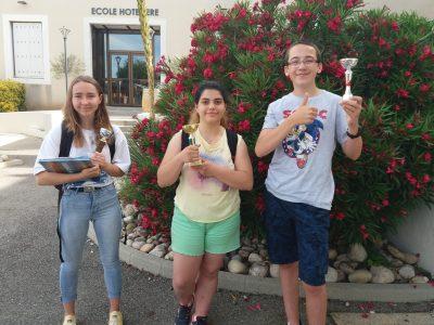 Fiers de nos lauréats... Emma, Alessia et Thomas (collège Marie Rivier à Bourg St Andéol )