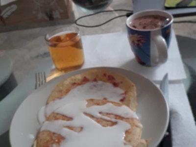Orange Jean Giono  en cours d'anglais, nous avons appris à cuisiner les fameux pancakes