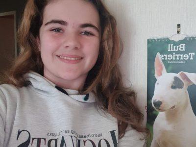 ville : 14600 Honfleur  nom du collège: Alphonse Allais   Bonjour,je vous envoi cette photo de moi avec un pull Harry Poter et une photo de mon chient c est un bulle terrier