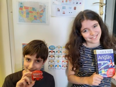Hello, my name is Raphaël, I'm twelve. My school is Saint-Vincent, in Paris. On the photo, I'm with my sister Sarah. We are twins!