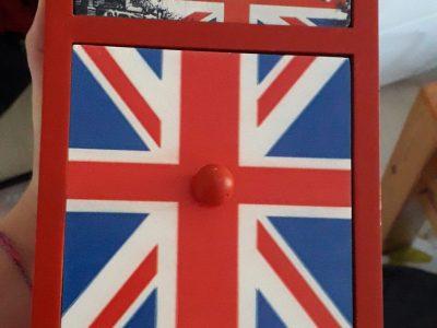 Voici ma petite boîte à bijoux sur le thème de l'Angleterre.