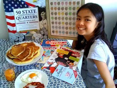 PALAISEAU, collège Joseph Bara :  Collection de quarters dollars (pièces américaines), magazine d'anglais, guide d'anglais + un bon petit brunch !