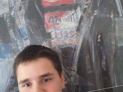 Roujan Boby Lapointe  me voici avec un tableau qui représente New York